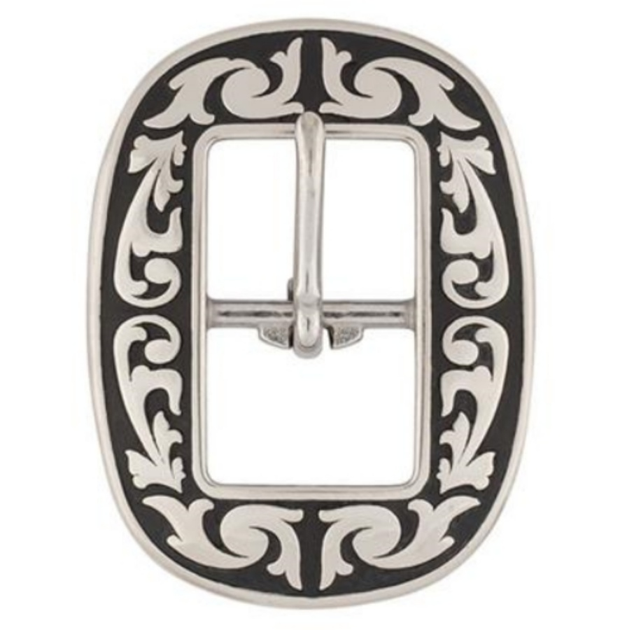 Jeremiah Watt Accented Floral Oval Centre Bar Buckle 16mm